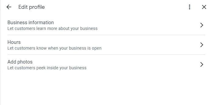 Inline editing Google My Business