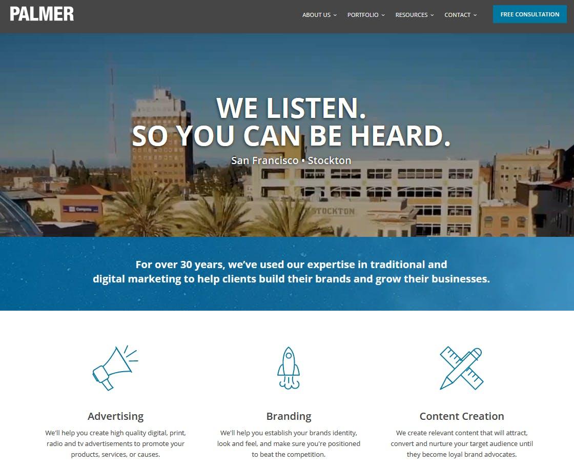 Local website homepage example